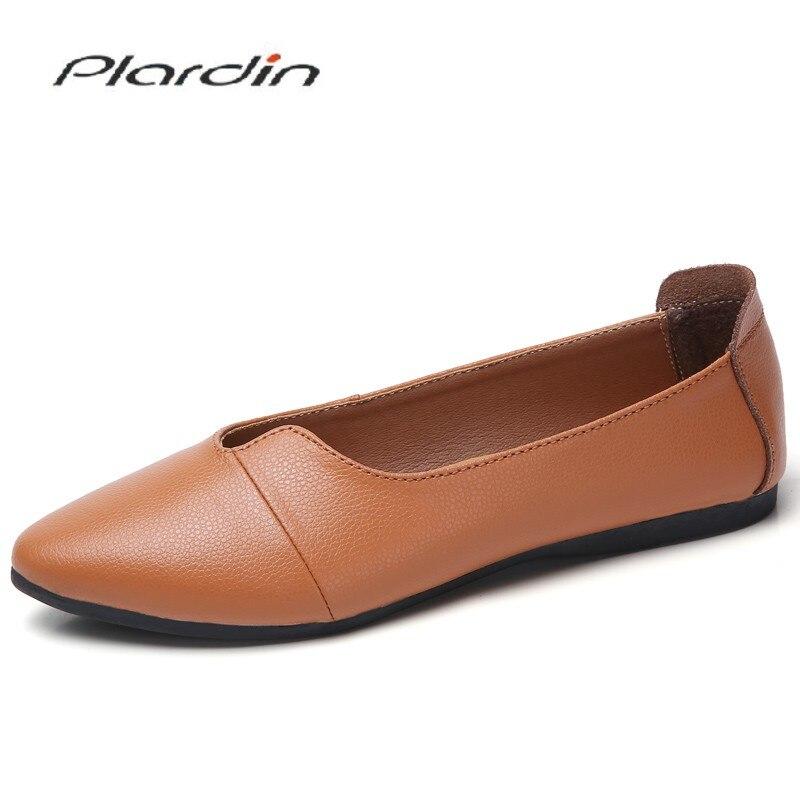 Plardin New Handmade   Leather   Women Light shoes Sewing Flats Moccasins Loafers Ballet Flats Women Comfortable Soft Casual Shoes