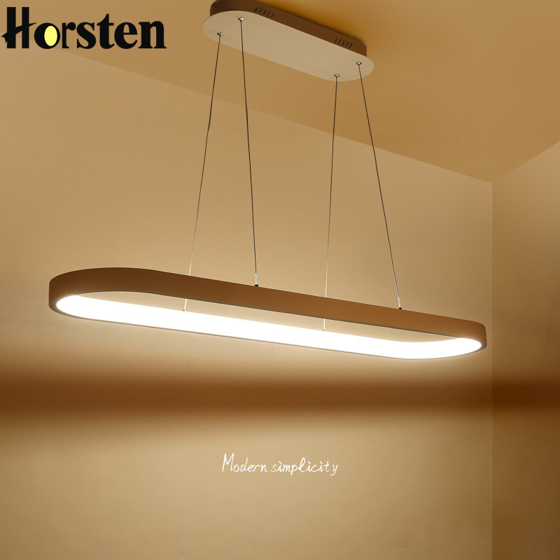 Modern Minimalism Oval Ring LED Pendant Lights Aluminum Acrylic Suspension Hanging Lamps For Dining Room Restaurant Office horsten modern simple led pendant lamps dining pendant lights aluminum acrylic ring hanging lamp restaurant home lighting 220v