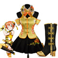 New 2016 Love Live Hoshizora Rin Golden Stage Dress cheongsam the Chinese Dress Cosplay Costume Collocation Of Shoes