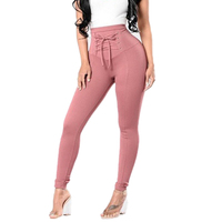 Lace Up Skinny Pencil Pants Women Slim Fit Push Up Pants Sexy Long Trousers 2017 Autumn