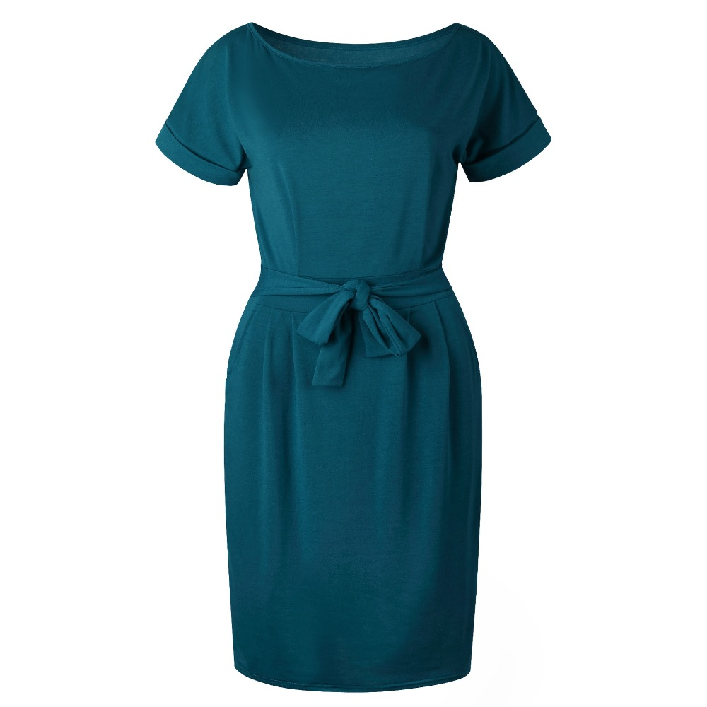19 New Summer Fashion Women Casual Short Sleeve O-Neck Straight Black Gray Blue Dress Loose Plus Size Pocket Cotton Midi Dress 30