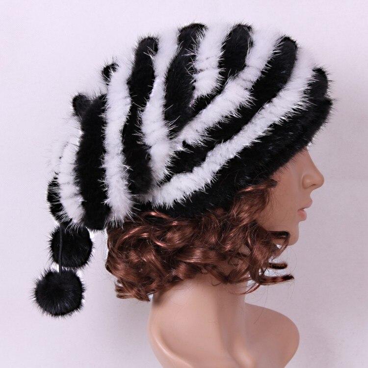 Femmes de chapeau de fourrure naturelle de fourrure de vison tricoté chapeau avec boule de fourrure, automne hiver chaud baggy HA105