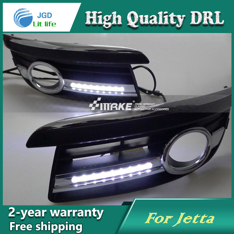 Free shipping ! 12V 6000k LED DRL Daytime running light case for VW Jetta 2006-2010 Fog lamp frame Fog light Car styling free shipping 2pcs lot car styling lamp 7443 80w daytime running light with daytime running light for dacia duster hs 2010