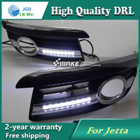 Free shipping ! 12V 6000k LED DRL Daytime running light case for VW Jetta 2006 2010 Fog lamp frame Fog light Car styling