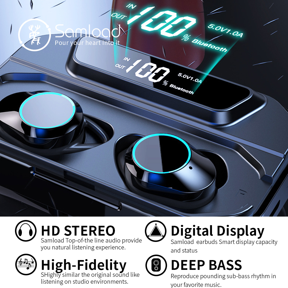 Samload Bluetooth 5.0 Headphones Built-in Mic Deep bass Wireless Earphones IP6 7 Waterproof Earbud with 3300mAh Box For iPhone X