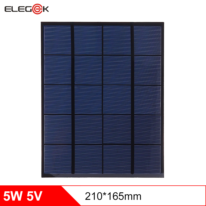 ELEGEEK 5W 5V Monostalline Silicon Solar Panel Cell Module Mini DIY Solar Panel 5V PET DIY Solar Panel for DIY 210*165mm