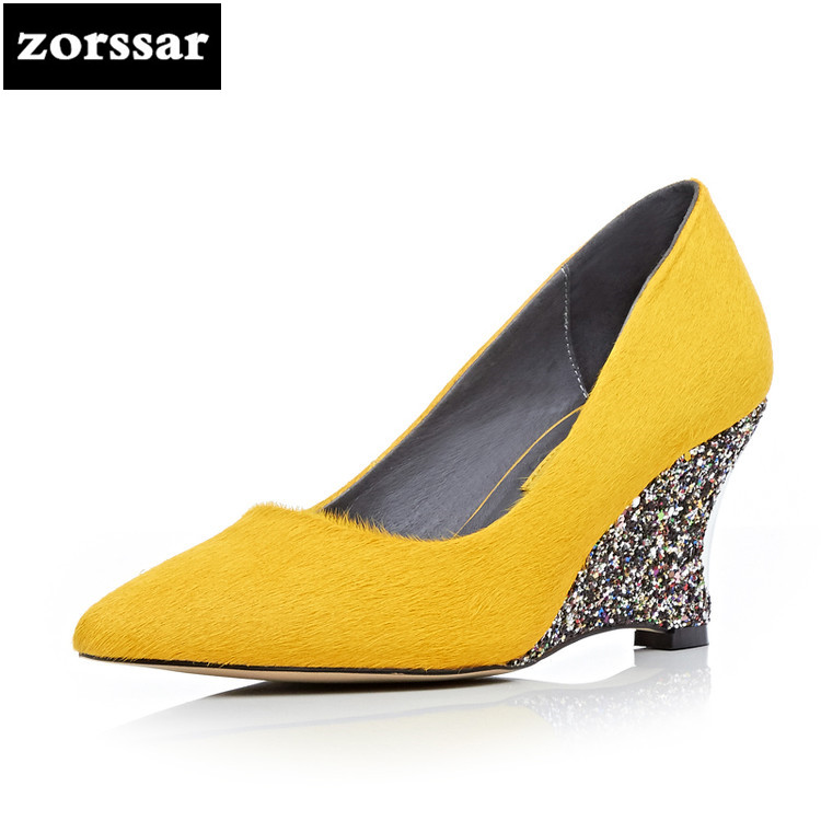 {Zorssar} 2018 NEW Fashion Genuine leather horse hair Womens shoes ladies wedges high heels pointed toe pumps lady Dress shoes new 2017 spring summer women shoes pointed toe high quality brand fashion womens flats ladies plus size 41 sweet flock t179