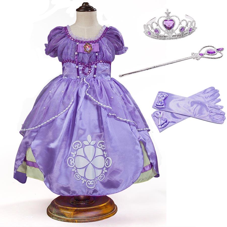 3-10Y Girls Sofia Costume Cosplay Princess Summer Dresses 5 Layers Children Kids Halloween Birthday Puff Party Dresses Fantasy