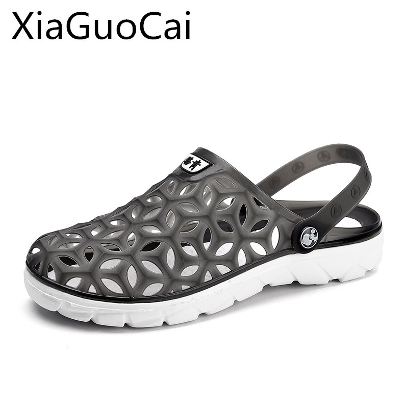 Gray Fashion Summer Men's Slippers Outdoor Beach Shoes for Male Hollow Out Anti-skid Jelly Shoes Soft Bottom Man Garden Slippers summer children shoes girls boys slippers cute cartoon comfortable fashion kids slippers anti slip girls slippers beach shoes