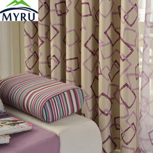 MYRU Modern and Simple style Cube shading cloth curtain geometric printing curtains for bedroom and living room