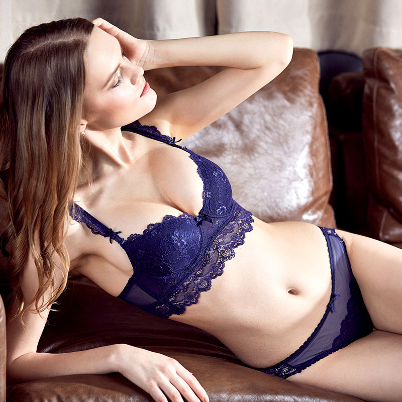France Women Underwear Set Cotton Sexy Lace Blue Bras Thick Push-up Bra Set Comfortable Brassiere Embroidery Lingerie 3/4 Cup