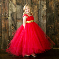 Summer Gilr Tutu Dress Handmade Red Girl Baby Holiday Outfit with Sparkle Gold Ribbon Girl Tutu Dress For Wedding Birthday