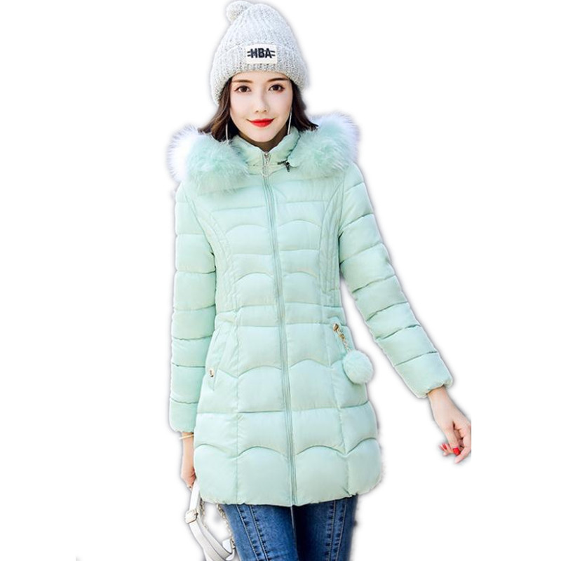 New 2019 Winter Hooded Fur   Parkas   Women Down Jacket Women Thick Snow Wear Winter Coat Lady Clothing Female Slim   Parkas   Q1011