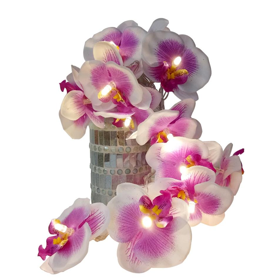 Handmade Orchid Flower LED String Lights, AA Battery floral holiday lighting, Vase flower arrangement,Party garland decoration