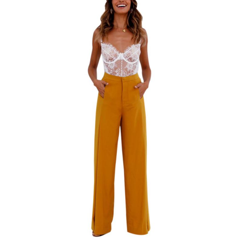 Women   Wide     Leg     Pants   2018 Summer   Pants   High Waist Loose Casual Palazzo   Pants   Women Solid Long Trousers Beach   Pants