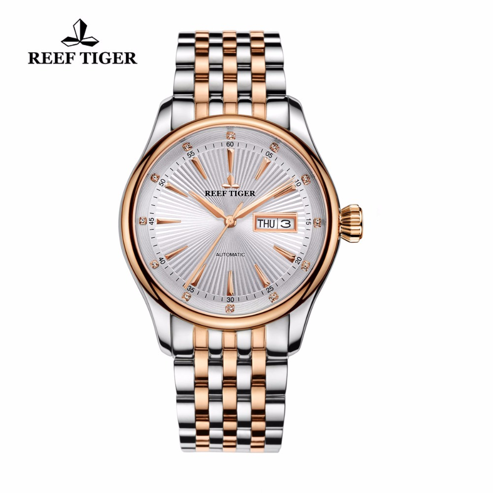 2017 New Reef Tiger/RT Dress Automatic Watch with Date Day Rose Gold Tone Analog Watches for Men RGA8232 вьетнамки reef day prints palm real teal