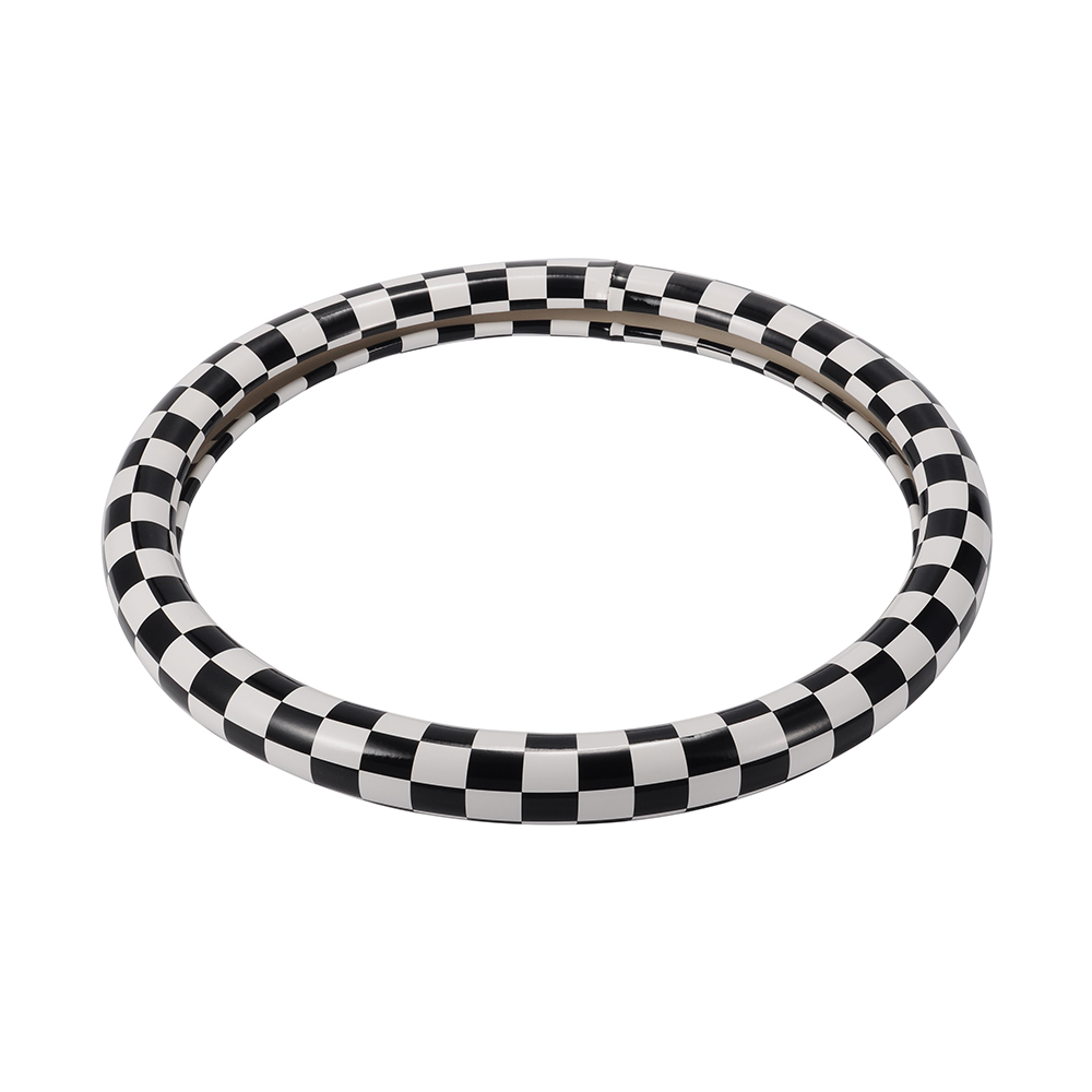 S Size Steering Cover PU Leather Car Steering Covers Black And White Plaid Steering Wheel Cover