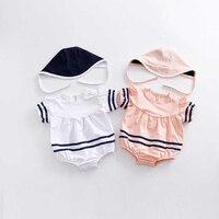 Navy Style Baby Clothes Set Sailor Jumpsuit Hat 2pcs Infant Girl Boy Clothing Set Navy Blue