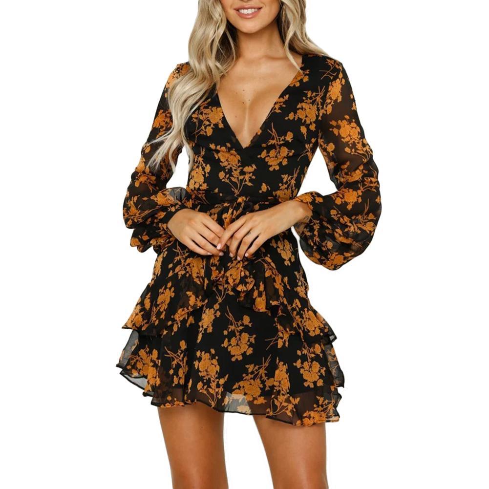 Сексуальное женское прозрачное шифоновое мини-платье с v-образным вырезом и цветочным принтом