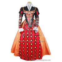 Alice In Wonderland Cosplay Queen Of Hearts Costume Formal Dress Fast Shipping Beautiful Party Halloween Full Set Clothing