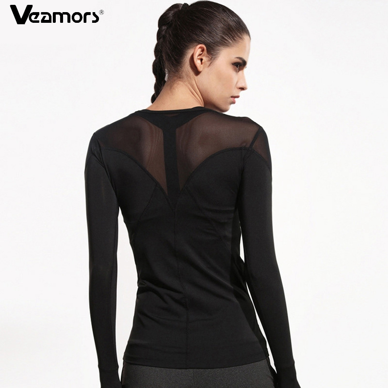 VEAMORS Women Mesh Patchwork Running T Shirts Breathable Long Sleeve Gym Sports T-Shirt Black Quick Dry Fitness Yoga Shirts Tops