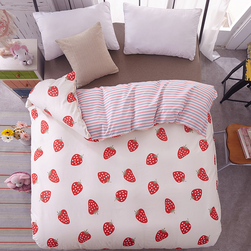 Strawberry Duvet Cover Twin Full Queen King Single Blue red stripes Quilt Cover Printing Home Bedding Home textiles One piece