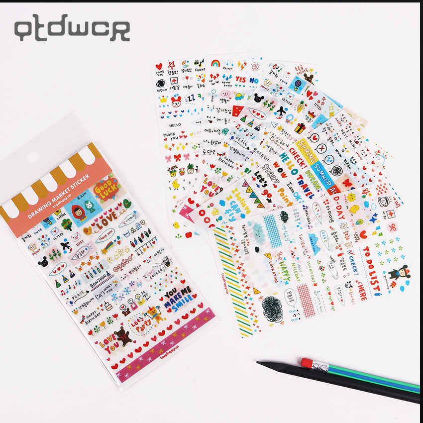 6PCS/Set DIY Decoration Cute Kawaii Cartoon Korean Girl Sticker for Scrapbook Decoration Diary Stationery Stickers