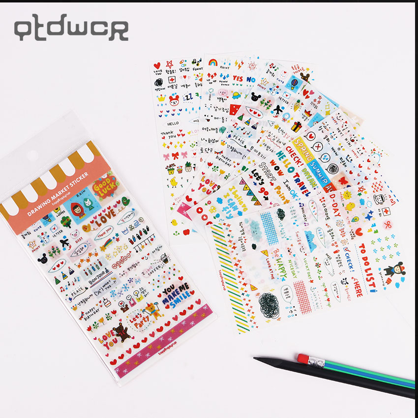 6 шт./компл. DIY украшения милый кавайный мультяшный Корейская девушка наклейка для украшение для скрапбукинга канцелярские наклейки для зап...