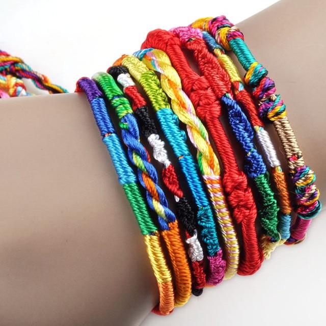 36pcs Lot Whole Weave Thread Rope String Friendship Bracelets Handmade Charm Strand Bangle