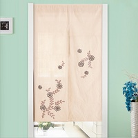 Diamond Embroidery Window Curtain Linen New Bedroom Living Room Hanging Curtain Decoration Retro Flocked Door Window