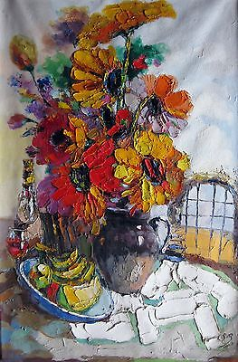 Original Fengming Art Knife Oil Painting Flowers Fruits And Wine