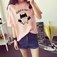 2017 Women's Summer T-Shirt Causal Printed Tee Lovely Short Sleeve Tops O-neck Bottoming 3 Colors Drop Shipping