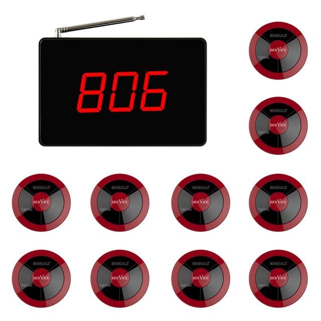 Singcall sem fio chamando sistema restaurante serviço de chamada para o cinema pub cafe, pacote de 10 três-botão pager e 1 receptor