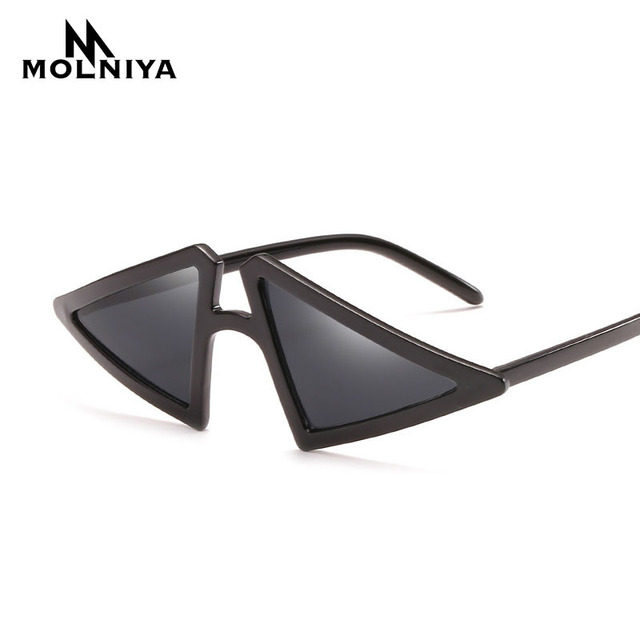 2abd86eaf84 MOLNIYA New Triangle Shaped Sunglasses Women Cat Eye Black Transparent  Frame Vintage Sun Glasses Party Summer Beach Accessories
