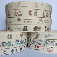 Free shipping 1 (25mm) Printed cotton ribbons Tape handmade Cotton Ribbons 20 Yards Decorative label Tag