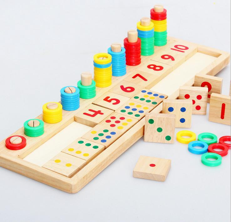 Montessori Rainbow Rings Dominos Children Preschool Teaching Aids Counting and Stacking Number Wood Board kids Wooden Math Toy