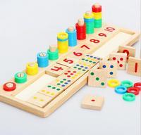 Montessori Regenbogen Ringe Dominos-karte Kinder Vorschule Lehrmittel Zählen und Stapeln Anzahl Holzplatte kinder Holz Mathematik Spielzeug