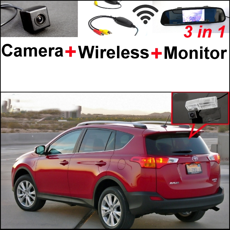 Wireless Receiver + 3 in1 Special Rear View Camera + Mirror Monitor Easy DIY Parking System For TOYOTA RAV4 2013~2015 wireless pager system 433 92mhz wireless restaurant table buzzer with monitor and watch receiver 3 display 42 call button