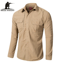MEGE Brand Clothing, Camisa de manga larga para hombre de verano, Camisa de carga de secado rápido transpirable, Camisa Social Masculina, camisas de vestir para hombre