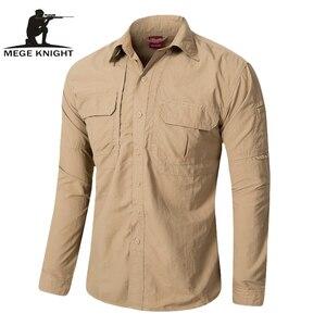 Image 1 - MEGE Brand Clothing, Summer Men Long Sleeve Shirt, Breathable Quick Dry Cargo Shirt, Camisa Social Masculina, Mens Dress Shirts