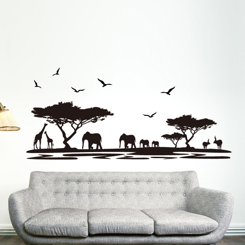 Black <font><b>African</b></font> Elephant Wall Sticker DIY Animal <font><b>Home</b></font> <font><b>Decor</b></font> Sofa Background Removable Vinyl Wall Decal Large Size