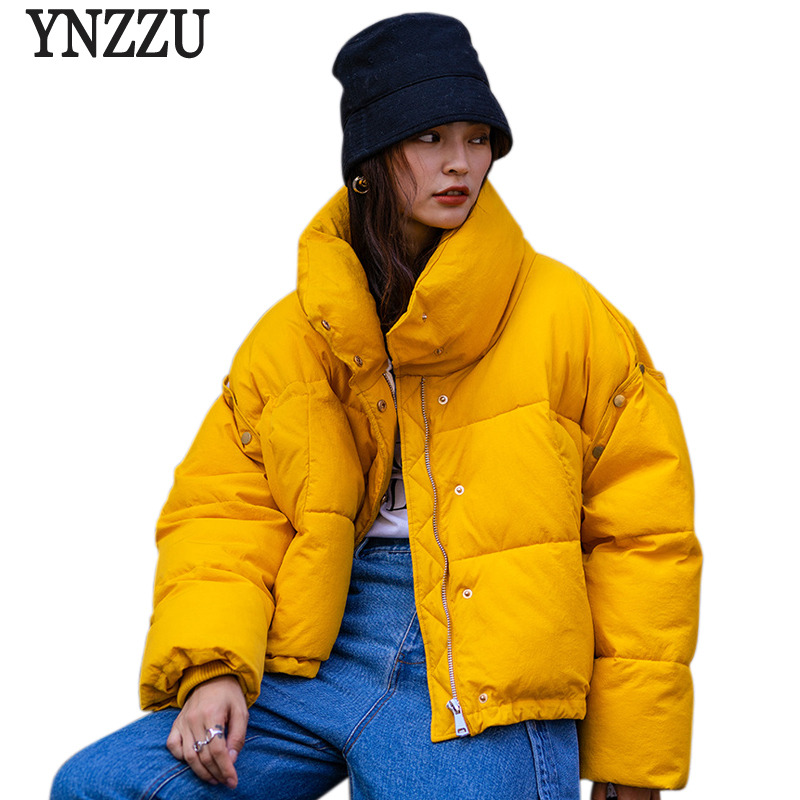 YNZZU 2018 Autumn Winter Cotton Padded Basic Jacket Coat Women Warm Yellow Stand Collar Parkas Female Casual Outerwear YO712