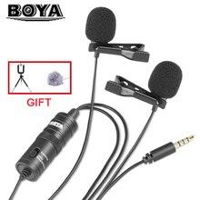 BOYA BY-M1DM Студийный микрофон с двумя микрофонами для Запись Youtube Vlogging видео петличный для samsung S8 камеры