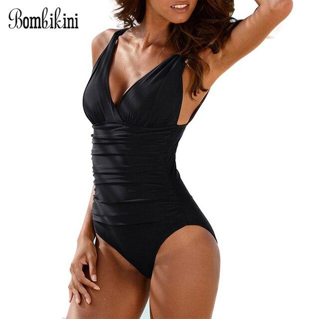 368eac28845d Sexy V cuello de las mujeres tamaño Plus traje doble baño una sola pieza  correas Monokini playa M 4XL