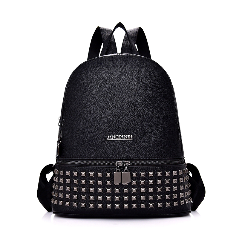 где купить Korean Fashion Rivet Women Daily Backpacks PU Material Zipper Preppy Style Students School Backpack Female Travel Shoulder Bags по лучшей цене