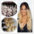 T1b/613 Blonde Ombre Human Hair Weave Virgin Body Wave Hair Bundles With Frontal Dark Roots Blonde Two Tone Ombre 3pcs+1 Hair