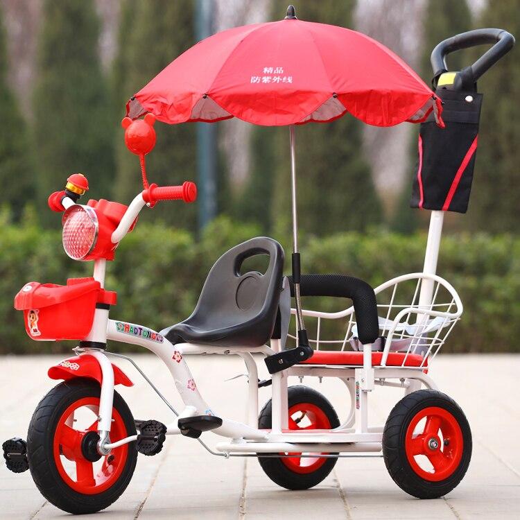 12-дюймовый детский трехколесный велосипед, близнецы велосипед ребёнка выпуска 2 сиденья со складками на педаль тандем трехколесный велосипед с резиновая надувная подушка безопасности для колеса и стальная рама