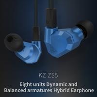 2017 New KZ ZS5 2DD 2BA Hybrid In Ear Earphone HIFI DJ Monito Running Sport Earphones