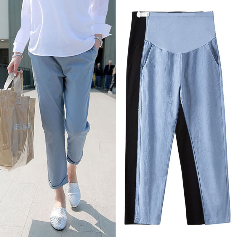 Maternity   Jeans   For Pregnant Women Autumn Adjustable Elastic Waist Cotton Pregnancy Pants Maternity Clothes Nursing Trousers