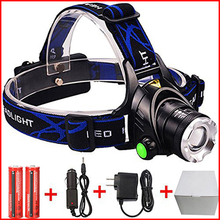 High Power XML T6 XM-L2 LED Headlamp Headlight Caming Hunting Head Light Lamp 4 Modes Rechargeable AC/EU Charger 18650 Battery